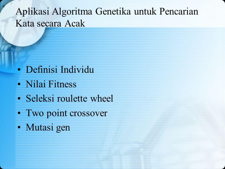 Aplikasi Algoritma Genetika untuk Pencarian Kata secara Acak Definisi Individu Nilai Fitness Seleksi roulette wheel Two point crossover Mutasi gen