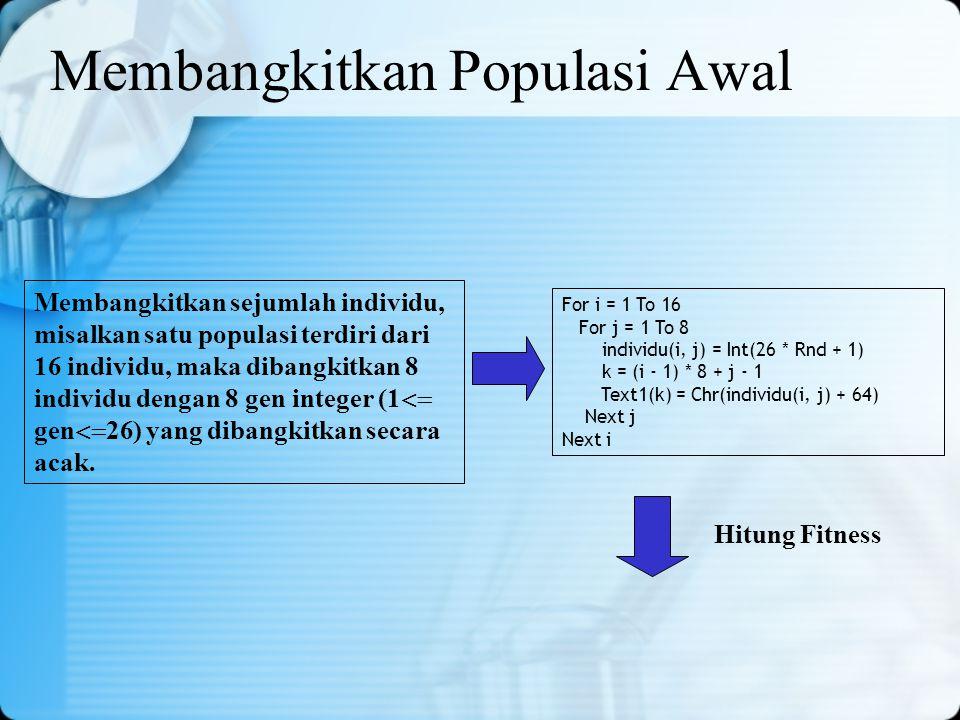 Membangkitkan Populasi Awal Membangkitkan sejumlah individu, misalkan satu populasi terdiri dari 16 individu, maka dibangkitkan 8 individu dengan 8 ge