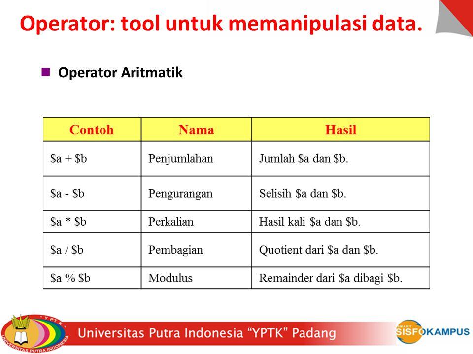 Operator Aritmatik Operator: tool untuk memanipulasi data.