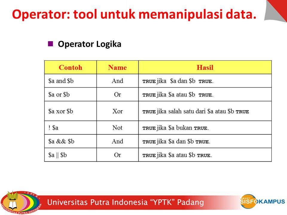 Operator Logika Operator: tool untuk memanipulasi data.