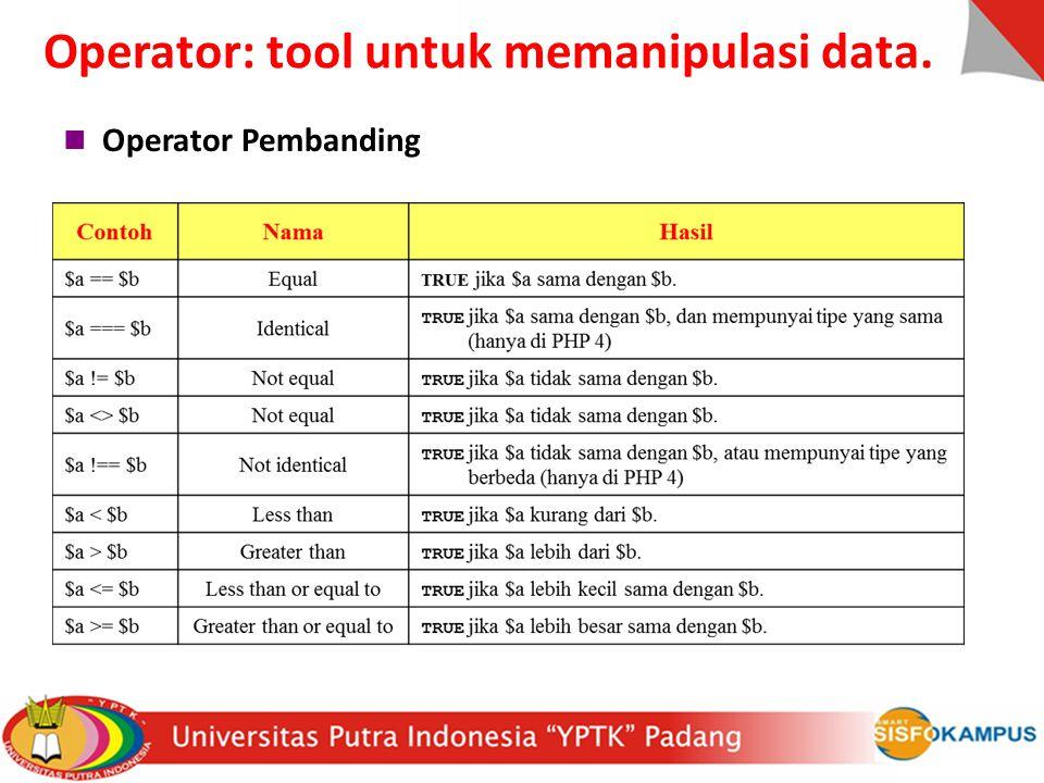 Operator Pembanding Operator: tool untuk memanipulasi data.