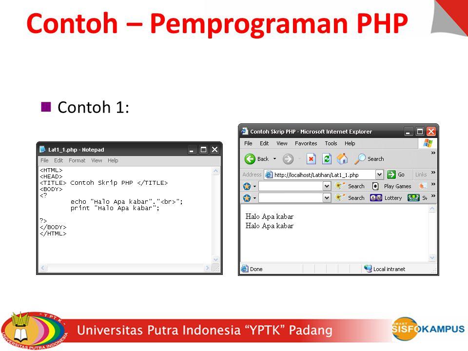 Contoh 1: Contoh – Pemprograman PHP