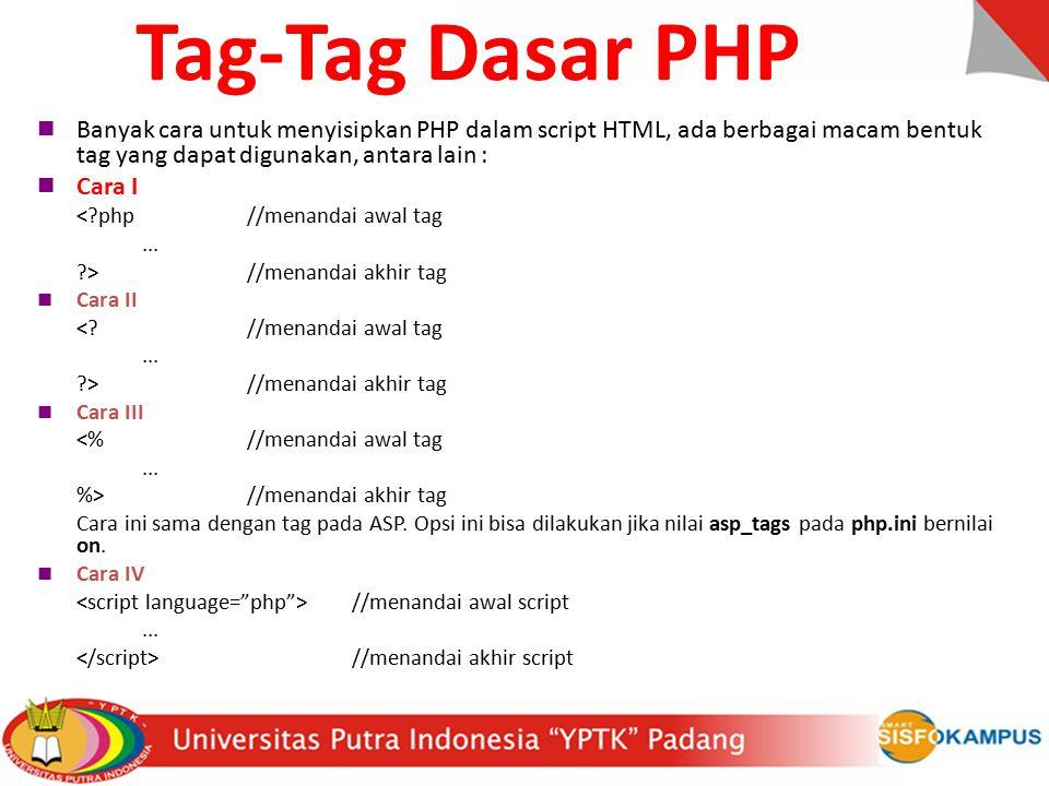 Banyak cara untuk menyisipkan PHP dalam script HTML, ada berbagai macam bentuk tag yang dapat digunakan, antara lain : Cara I <?php//menandai awal tag...