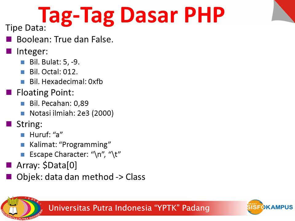 Tipe Data: Boolean: True dan False.Integer: Bil. Bulat: 5, -9.