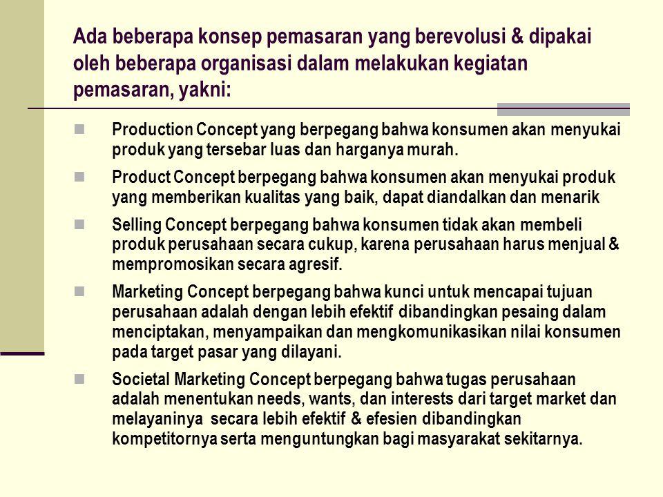Ada beberapa konsep pemasaran yang berevolusi & dipakai oleh beberapa organisasi dalam melakukan kegiatan pemasaran, yakni: Production Concept yang berpegang bahwa konsumen akan menyukai produk yang tersebar luas dan harganya murah.
