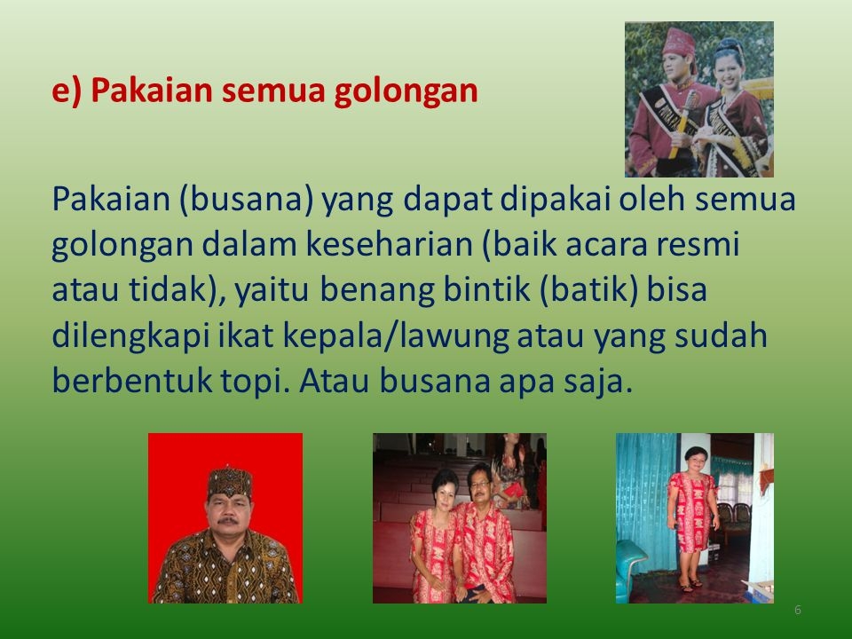 d) Pakaian Perang (juga untuk mangayau), Topi, Lawung, spt. : ewah (cawat); ewah bumbun (semacam cawat yang digunakan dalam upacara adat dan berwarna
