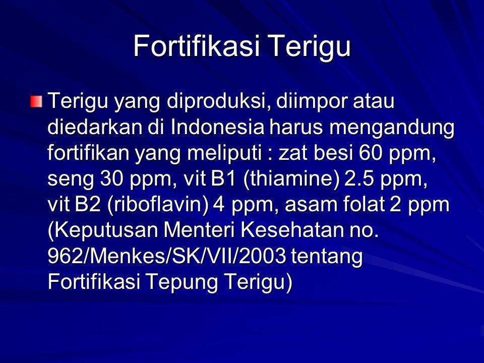 Fortifikasi Terigu Terigu yang diproduksi, diimpor atau diedarkan di Indonesia harus mengandung fortifikan yang meliputi : zat besi 60 ppm, seng 30 pp