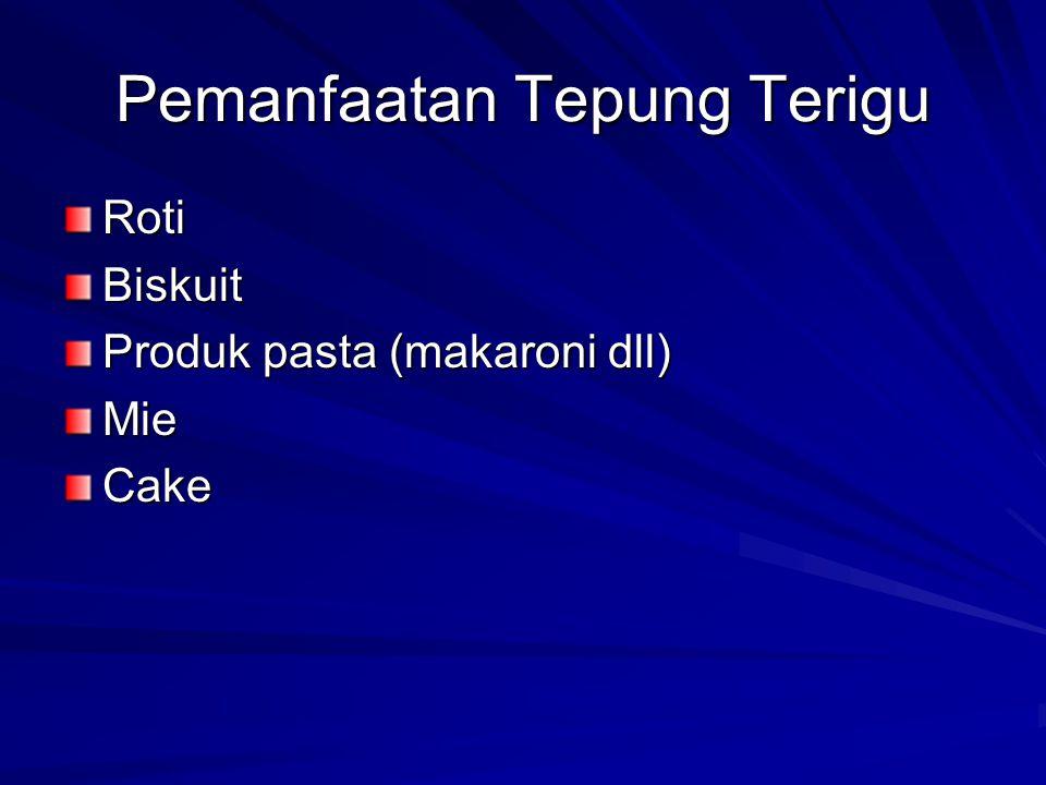 Pemanfaatan Tepung Terigu RotiBiskuit Produk pasta (makaroni dll) MieCake