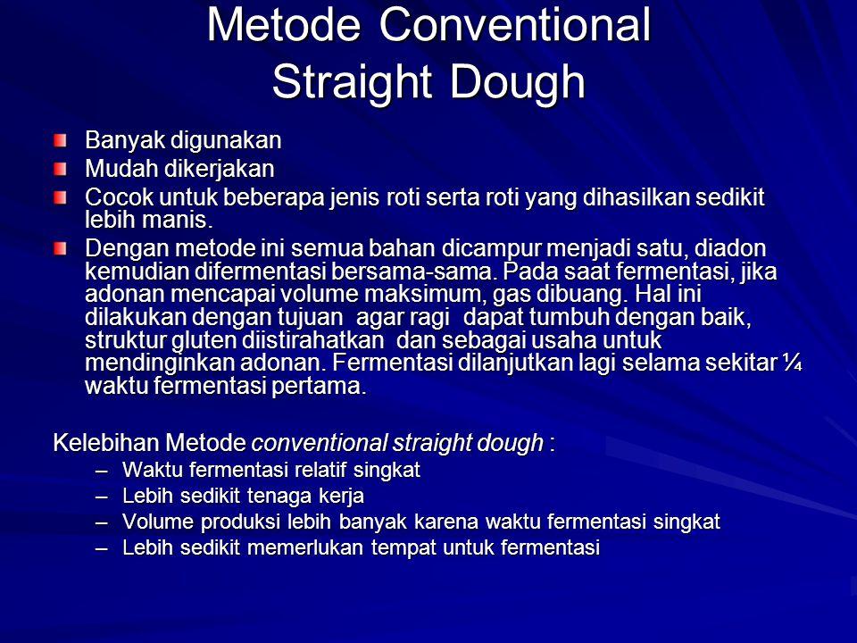 Metode Conventional Straight Dough Banyak digunakan Mudah dikerjakan Cocok untuk beberapa jenis roti serta roti yang dihasilkan sedikit lebih manis.