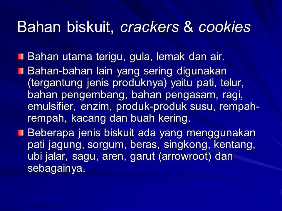 Bahan biskuit, crackers & cookies Bahan utama terigu, gula, lemak dan air. Bahan-bahan lain yang sering digunakan (tergantung jenis produknya) yaitu p