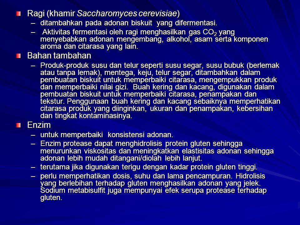 Ragi (khamir Saccharomyces cerevisiae) –ditambahkan pada adonan biskuit yang difermentasi.