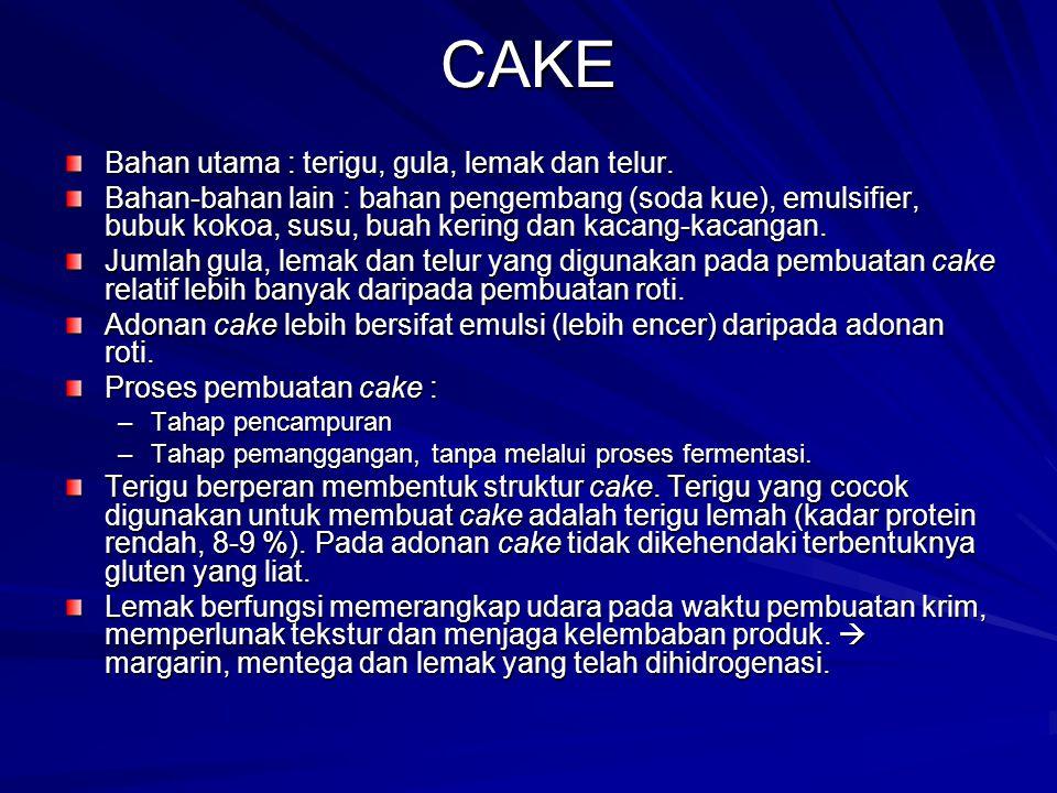 CAKE Bahan utama : terigu, gula, lemak dan telur. Bahan-bahan lain : bahan pengembang (soda kue), emulsifier, bubuk kokoa, susu, buah kering dan kacan