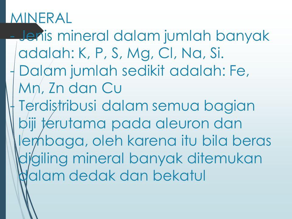MINERAL - Jenis mineral dalam jumlah banyak adalah: K, P, S, Mg, Cl, Na, Si. - Dalam jumlah sedikit adalah: Fe, Mn, Zn dan Cu - Terdistribusi dalam se