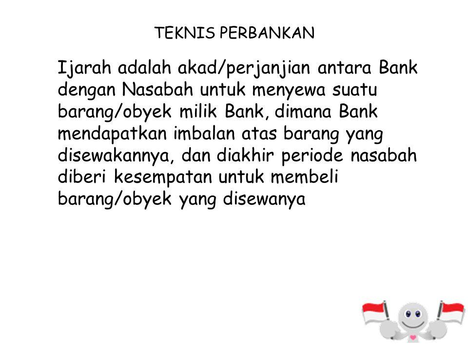 SKEMA IJARAH Penjual/ Supplier/ Pemilik Bank Syariah (Muajjir) Nasabah (Musta'jir) Obyek Sewa B. Milik A. Milik Menyewa/membeli obyek Pengajuan permoh