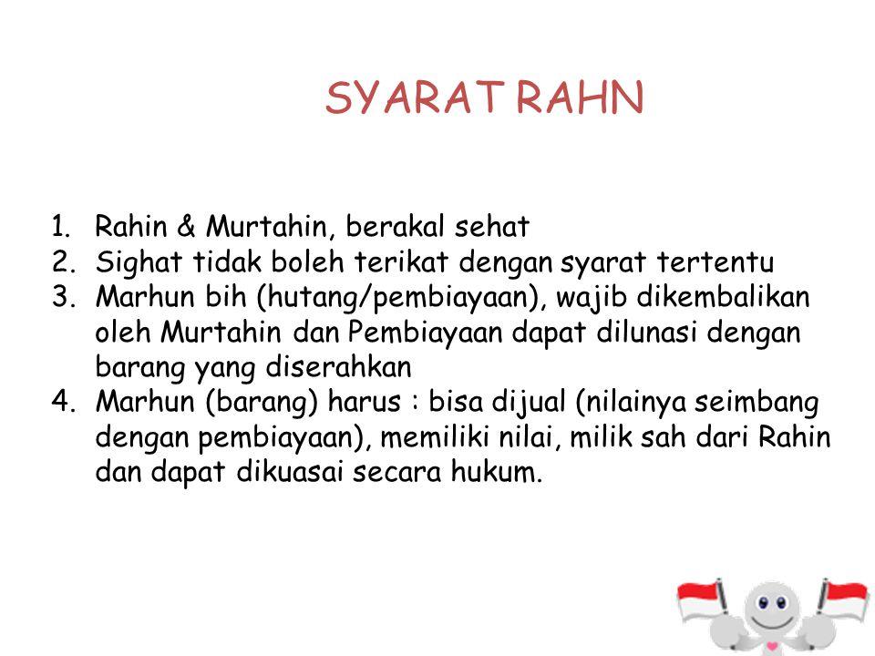 1.Rahin (yang menggadaikan) 2.Murtahin (yang menerima gadai) 3.Marhun (barang yang digadaikan) 4.Marhun bih (hutang) 5.Sighat : Ijab & Qabul RUKUN RAH