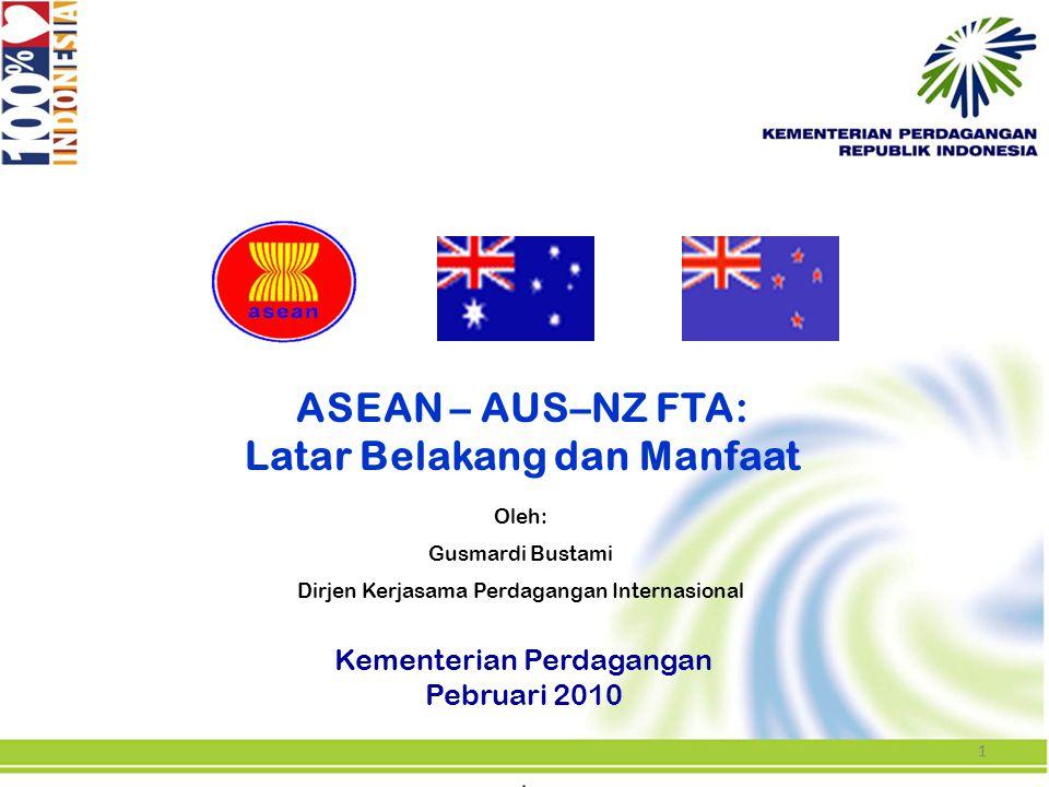 11 ASEAN – AUS–NZ FTA: Latar Belakang dan Manfaat Kementerian Perdagangan Pebruari 2010 Oleh: Gusmardi Bustami Dirjen Kerjasama Perdagangan Internasio