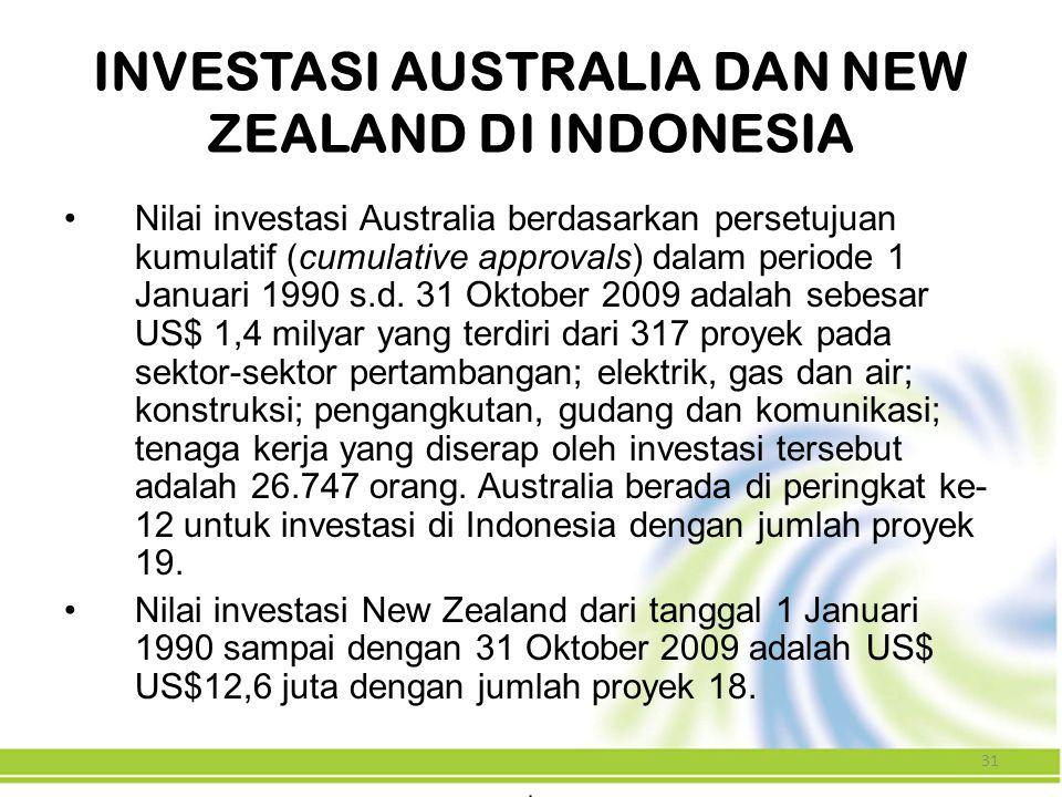 31 INVESTASI AUSTRALIA DAN NEW ZEALAND DI INDONESIA Nilai investasi Australia berdasarkan persetujuan kumulatif (cumulative approvals) dalam periode 1