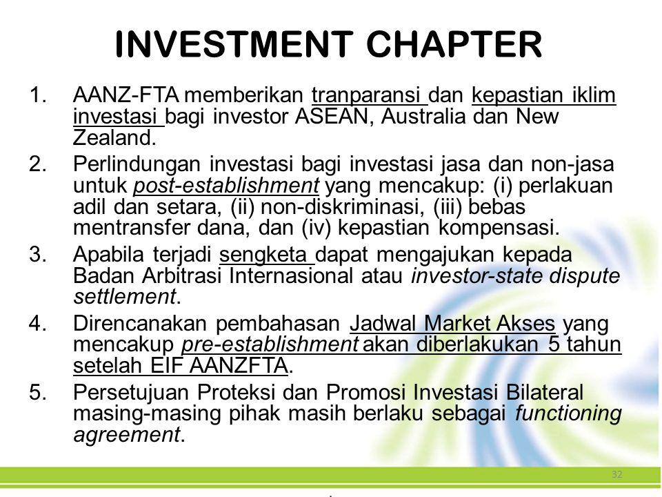 32 1.AANZ-FTA memberikan tranparansi dan kepastian iklim investasi bagi investor ASEAN, Australia dan New Zealand. 2.Perlindungan investasi bagi inves