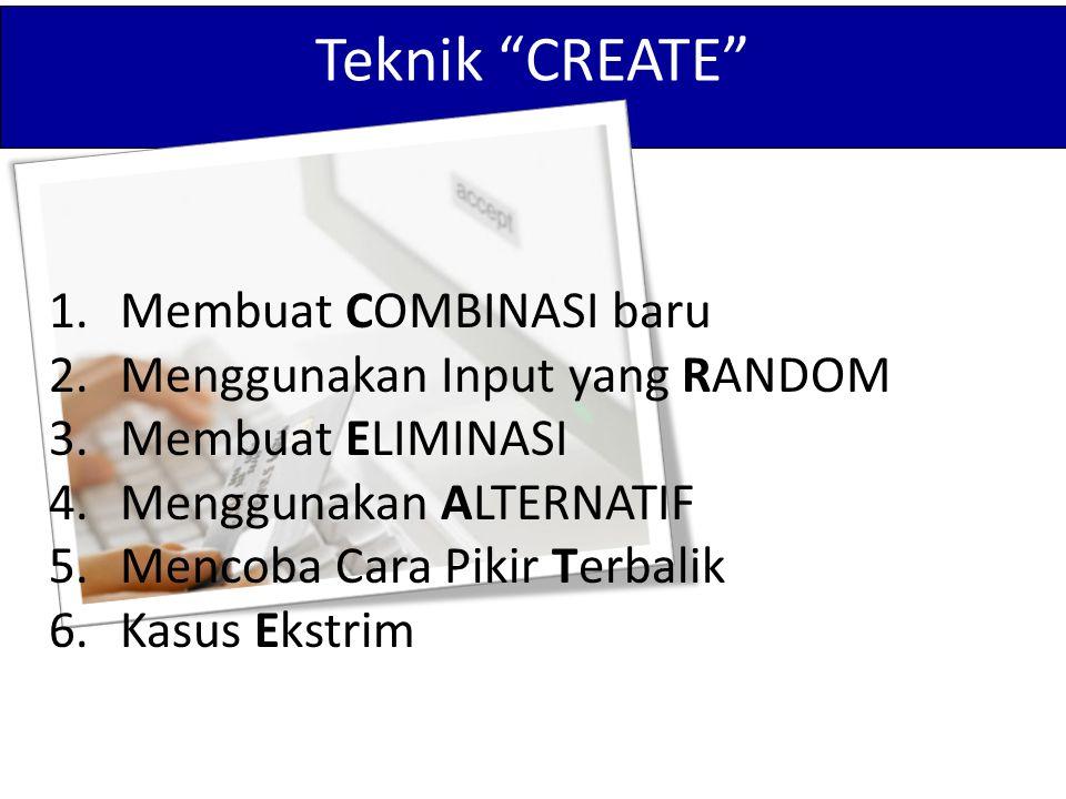 """Teknik """"CREATE"""" 1.Membuat COMBINASI baru 2.Menggunakan Input yang RANDOM 3.Membuat ELIMINASI 4.Menggunakan ALTERNATIF 5.Mencoba Cara Pikir Terbalik 6."""