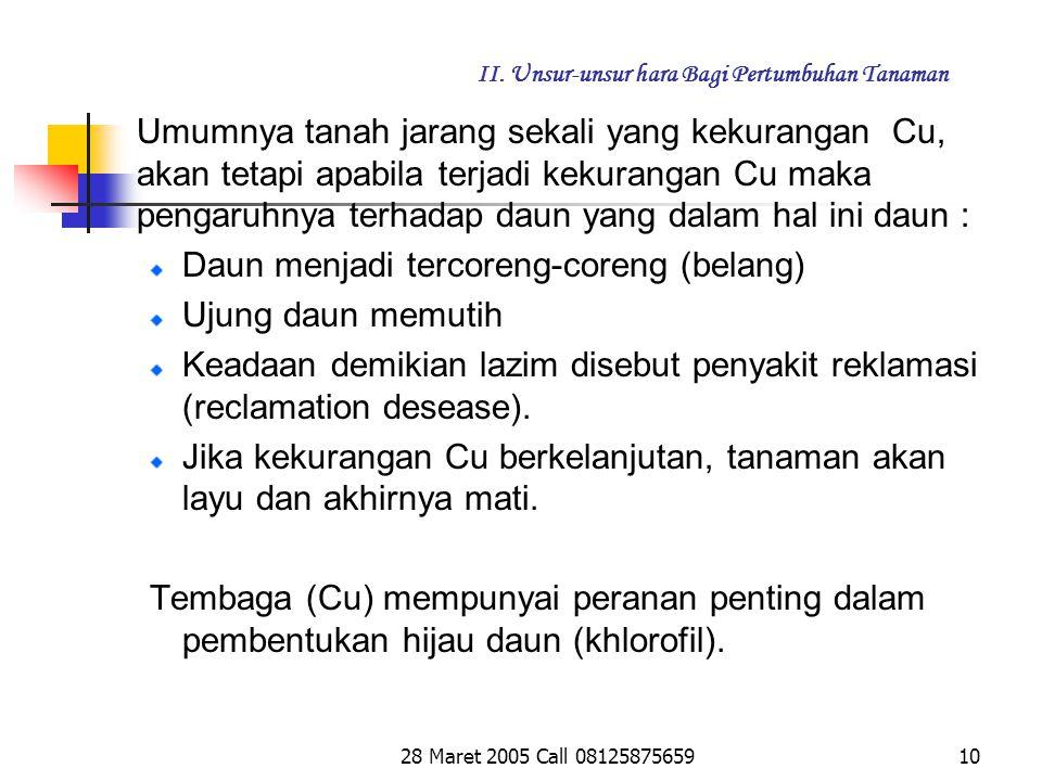 28 Maret 2005 Call 081258756599 II.Unsur-unsur hara Bagi Pertumbuhan Tanaman d.