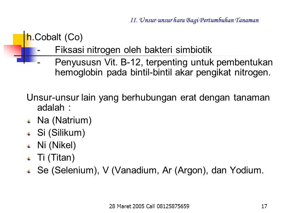 28 Maret 2005 Call 0812587565916 II.Unsur-unsur hara Bagi Pertumbuhan Tanaman g.