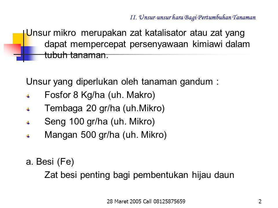 28 Maret 2005 Call 081258756591 II.Unsur-unsur hara Bagi Pertumbuhan Tanaman 2.3.