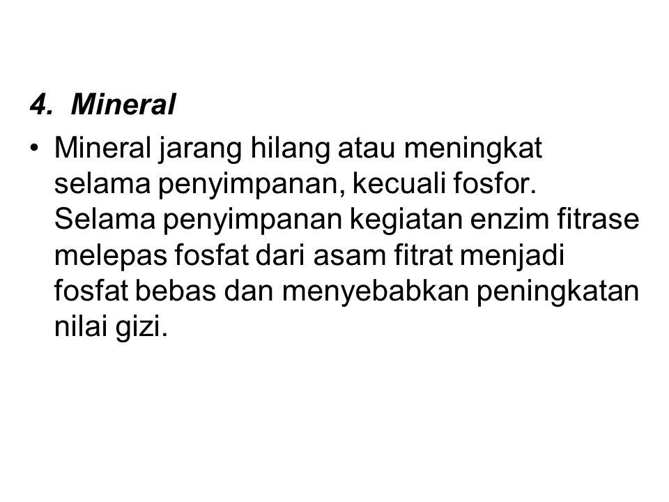 4.Mineral Mineral jarang hilang atau meningkat selama penyimpanan, kecuali fosfor.