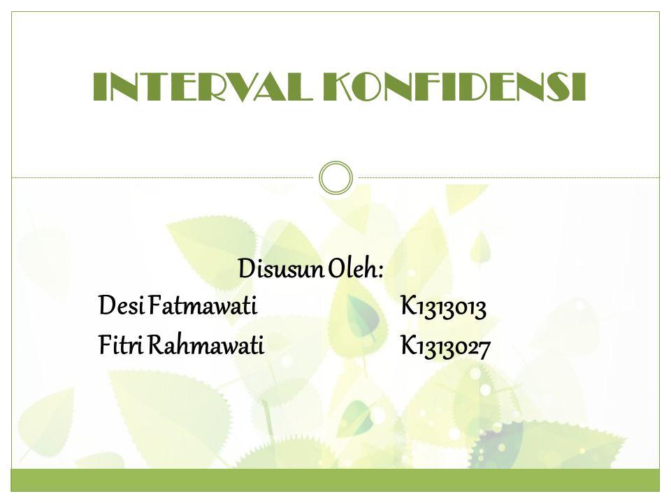 INTERVAL KONFIDENSI Disusun Oleh: Desi FatmawatiK1313013 Fitri RahmawatiK1313027