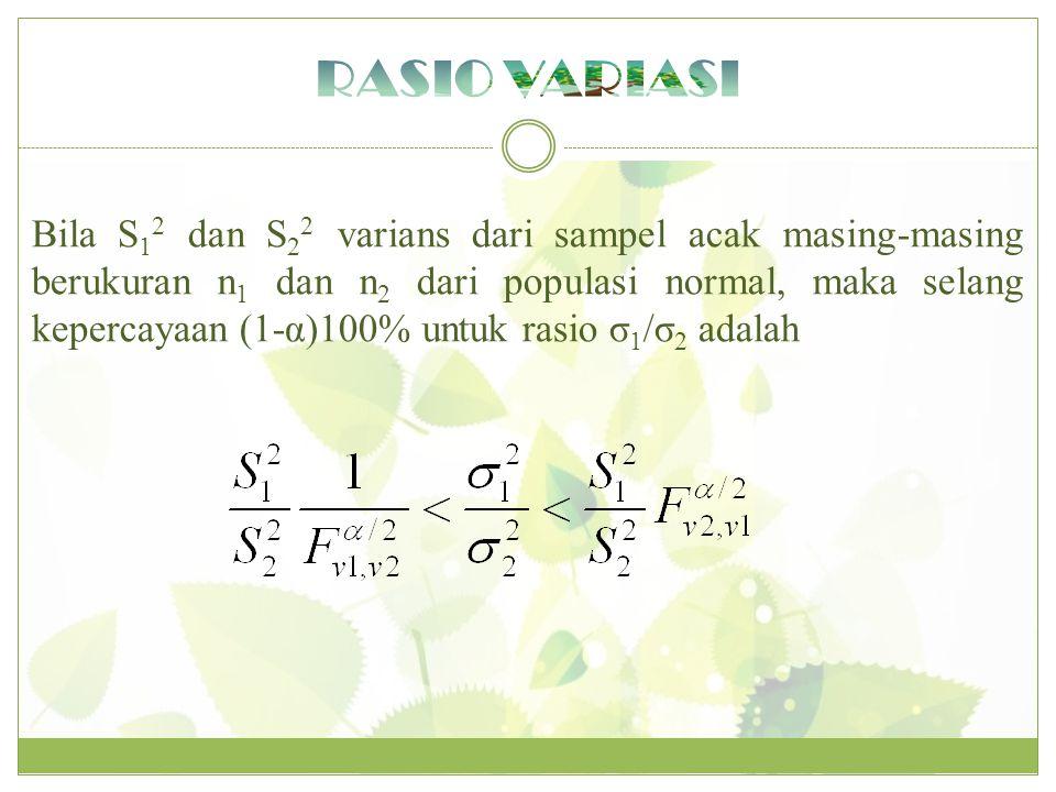 Bila S 1 2 dan S 2 2 varians dari sampel acak masing-masing berukuran n 1 dan n 2 dari populasi normal, maka selang kepercayaan (1-α)100% untuk rasio σ 1 /σ 2 adalah