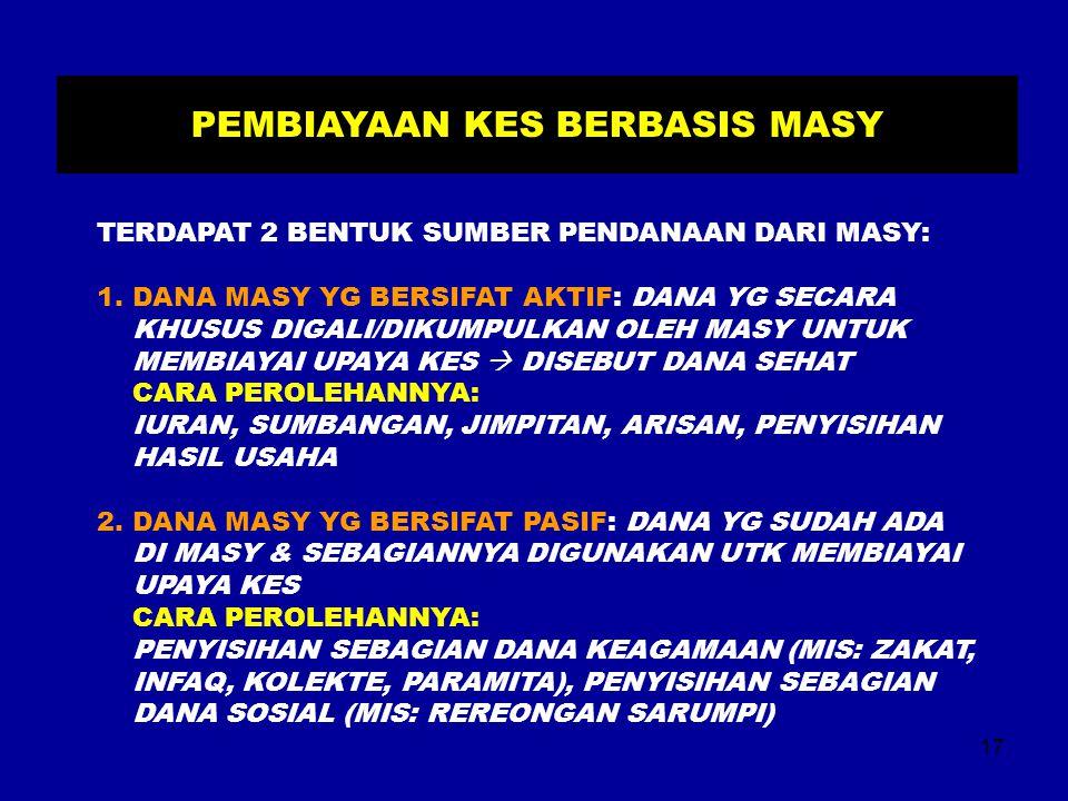 17 PEMBIAYAAN KES BERBASIS MASY TERDAPAT 2 BENTUK SUMBER PENDANAAN DARI MASY: 1. DANA MASY YG BERSIFAT AKTIF: DANA YG SECARA KHUSUS DIGALI/DIKUMPULKAN