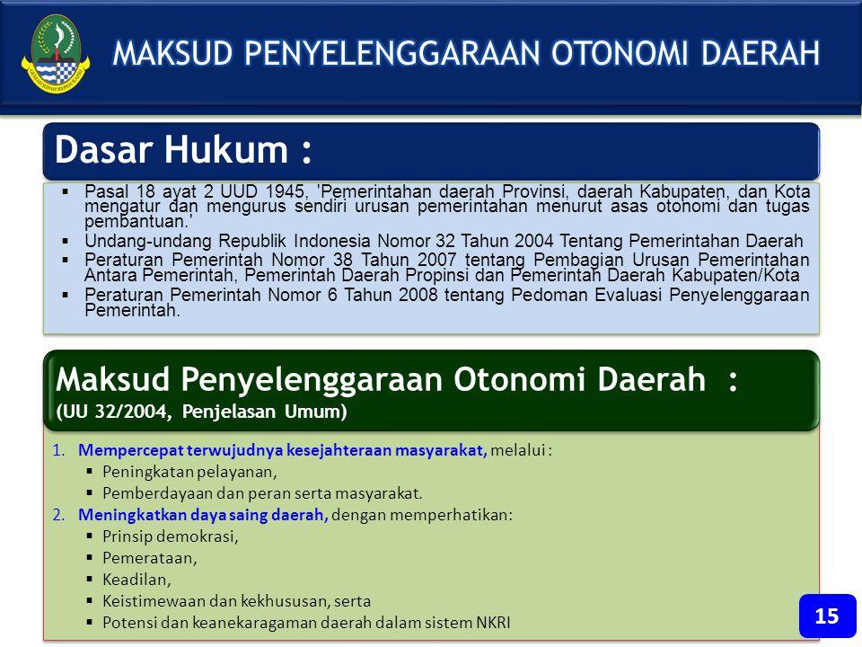 Dasar Hukum :  Pasal 18 ayat 2 UUD 1945, 'Pemerintahan daerah Provinsi, daerah Kabupaten, dan Kota mengatur dan mengurus sendiri urusan pemerintahan