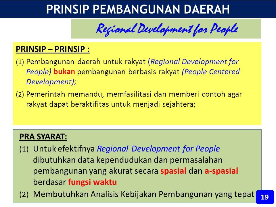 PRINSIP – PRINSIP : (1) Pembangunan daerah untuk rakyat (Regional Development for People) bukan pembangunan berbasis rakyat (People Centered Developme