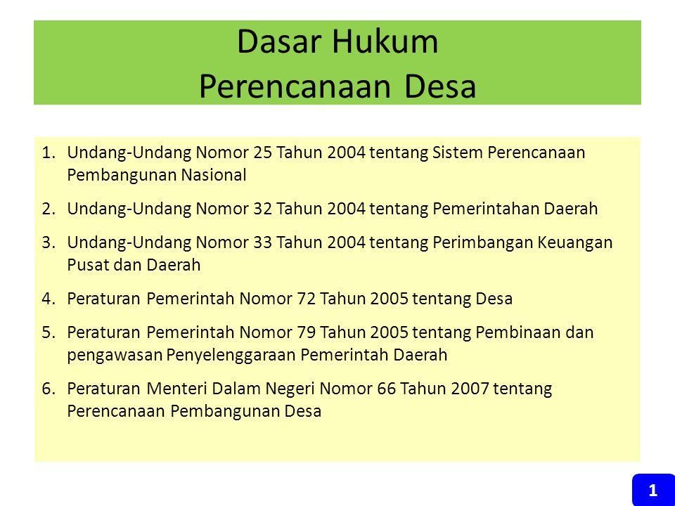 Dasar Hukum Perencanaan Desa 1.Undang-Undang Nomor 25 Tahun 2004 tentang Sistem Perencanaan Pembangunan Nasional 2.Undang-Undang Nomor 32 Tahun 2004 t