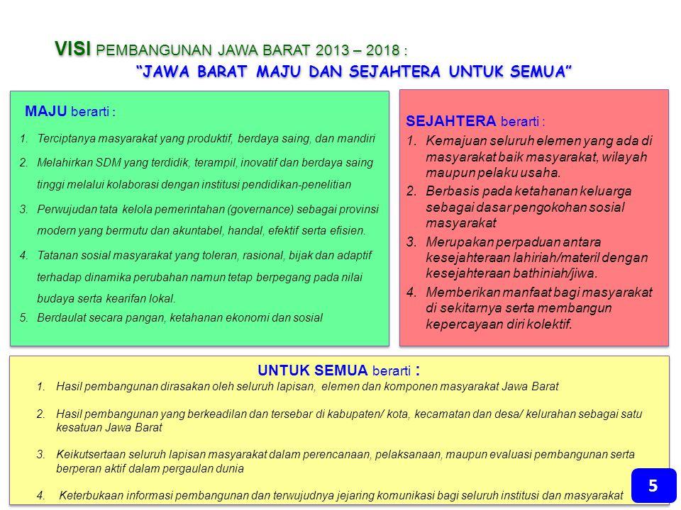 "VISI PEMBANGUNAN JAWA BARAT 2013 – 2018 : ""JAWA BARAT MAJU DAN SEJAHTERA UNTUK SEMUA"" VISI PEMBANGUNAN JAWA BARAT 2013 – 2018 : ""JAWA BARAT MAJU DAN S"