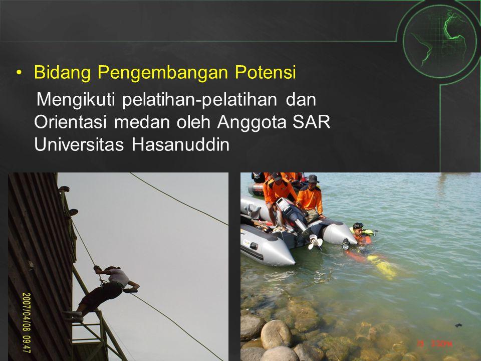 Bidang Pengembangan Potensi Mengikuti pelatihan-pelatihan dan Orientasi medan oleh Anggota SAR Universitas Hasanuddin