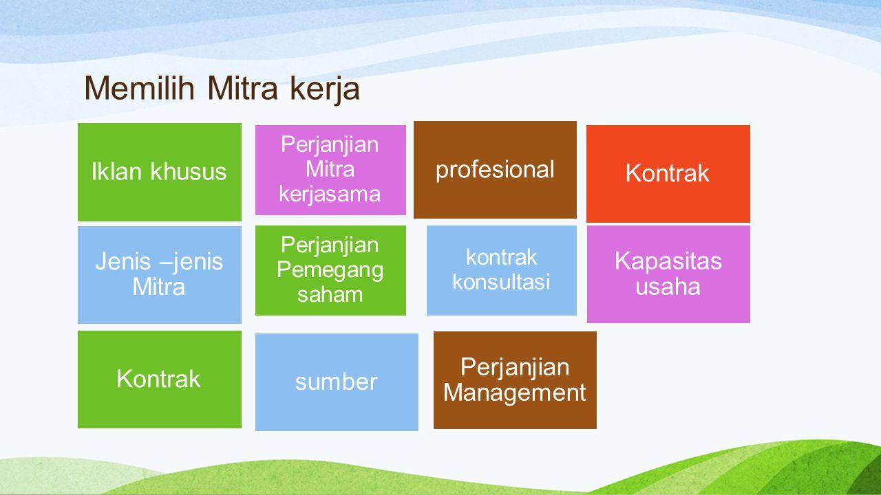 Iklan khusus sumber Iklan khusus profesional Kontrak Kapasitas usaha Jenis –jenis Mitra Kontrak Perjanjian Management Memilih Mitra kerja Perjanjian M