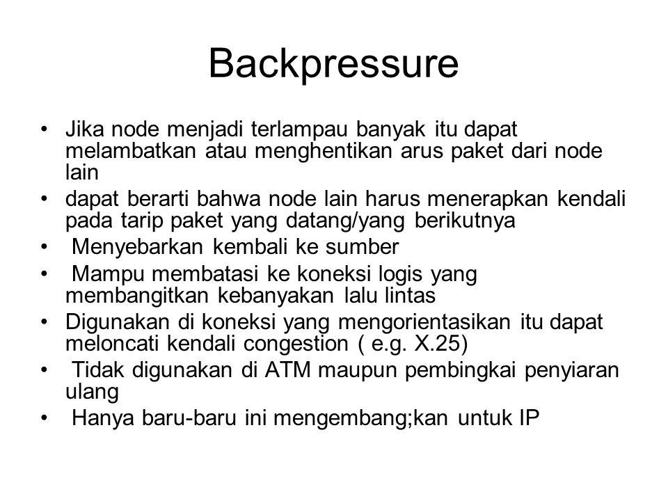 Backpressure Jika node menjadi terlampau banyak itu dapat melambatkan atau menghentikan arus paket dari node lain dapat berarti bahwa node lain harus