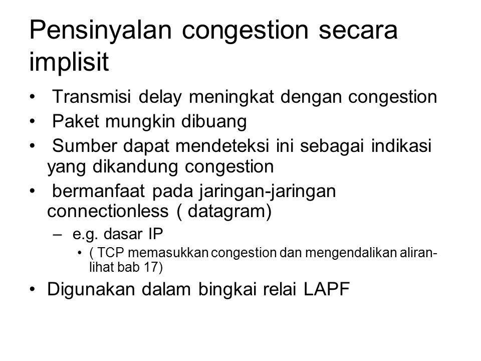 Pensinyalan congestion secara implisit Transmisi delay meningkat dengan congestion Paket mungkin dibuang Sumber dapat mendeteksi ini sebagai indikasi