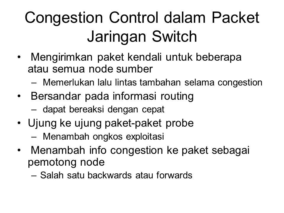 Congestion Control dalam Packet Jaringan Switch Mengirimkan paket kendali untuk beberapa atau semua node sumber – Memerlukan lalu lintas tambahan selama congestion Bersandar pada informasi routing – dapat bereaksi dengan cepat Ujung ke ujung paket-paket probe – Menambah ongkos exploitasi Menambah info congestion ke paket sebagai pemotong node –Salah satu backwards atau forwards