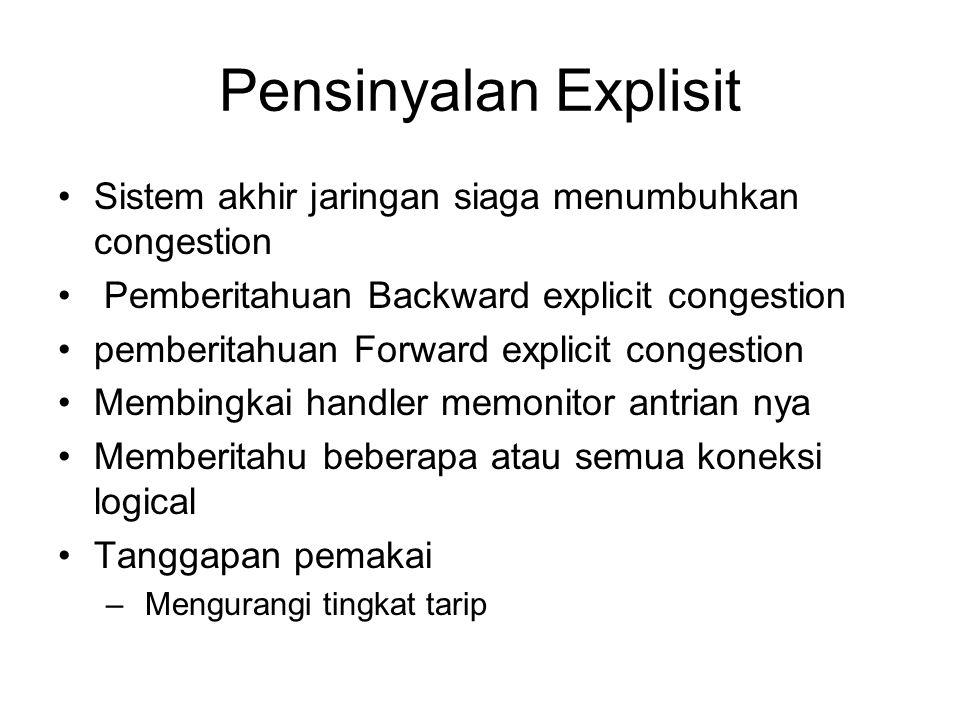 Pensinyalan Explisit Sistem akhir jaringan siaga menumbuhkan congestion Pemberitahuan Backward explicit congestion pemberitahuan Forward explicit cong