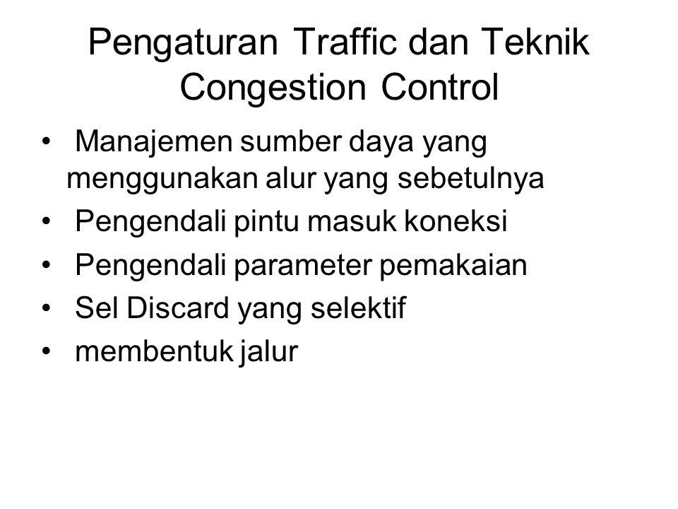 Pengaturan Traffic dan Teknik Congestion Control Manajemen sumber daya yang menggunakan alur yang sebetulnya Pengendali pintu masuk koneksi Pengendali parameter pemakaian Sel Discard yang selektif membentuk jalur
