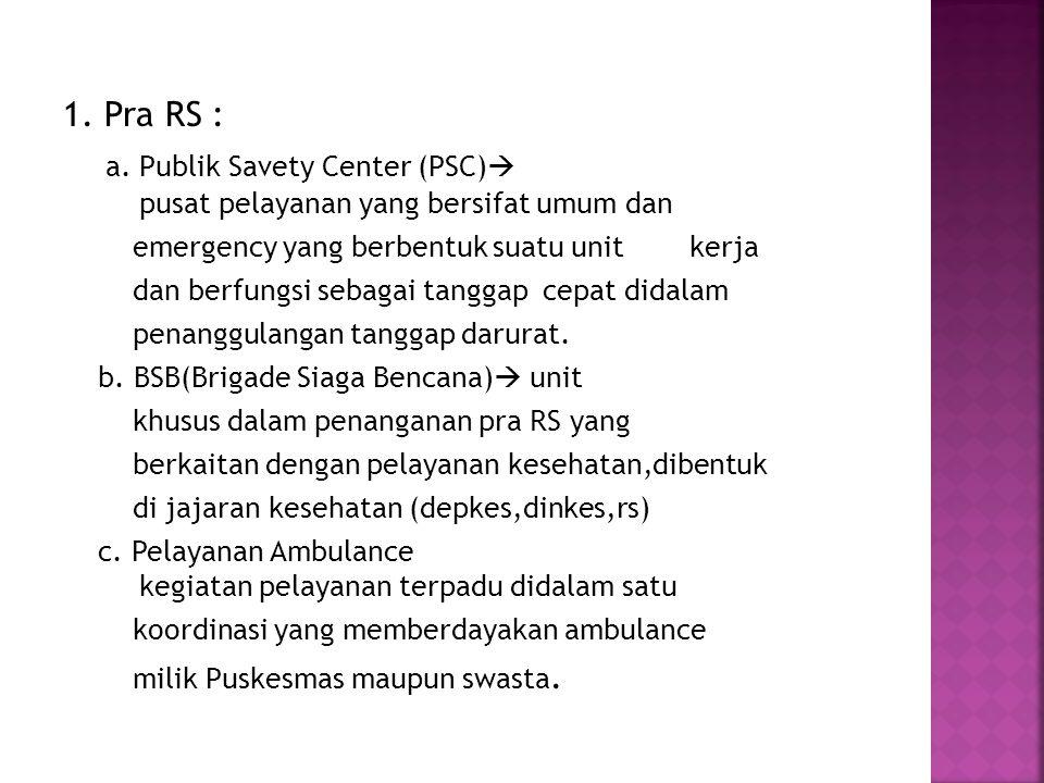 1. Pra RS : a. Publik Savety Center (PSC)  pusat pelayanan yang bersifat umum dan emergency yang berbentuk suatu unit kerja dan berfungsi sebagai tan