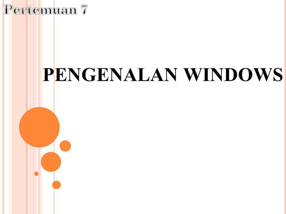PENGERTIAN & SEJARAH W INDOWS Windows adalah salah satu sistem operasi andalan Microsoft yang banyak dipakai saat ini, karena mempunyai banyak feature yang mampu memanjakan pemakainya dengan kata lain semakin tinggi versi dari Windows semakin banyak kemudahan yang ditawarkannya.