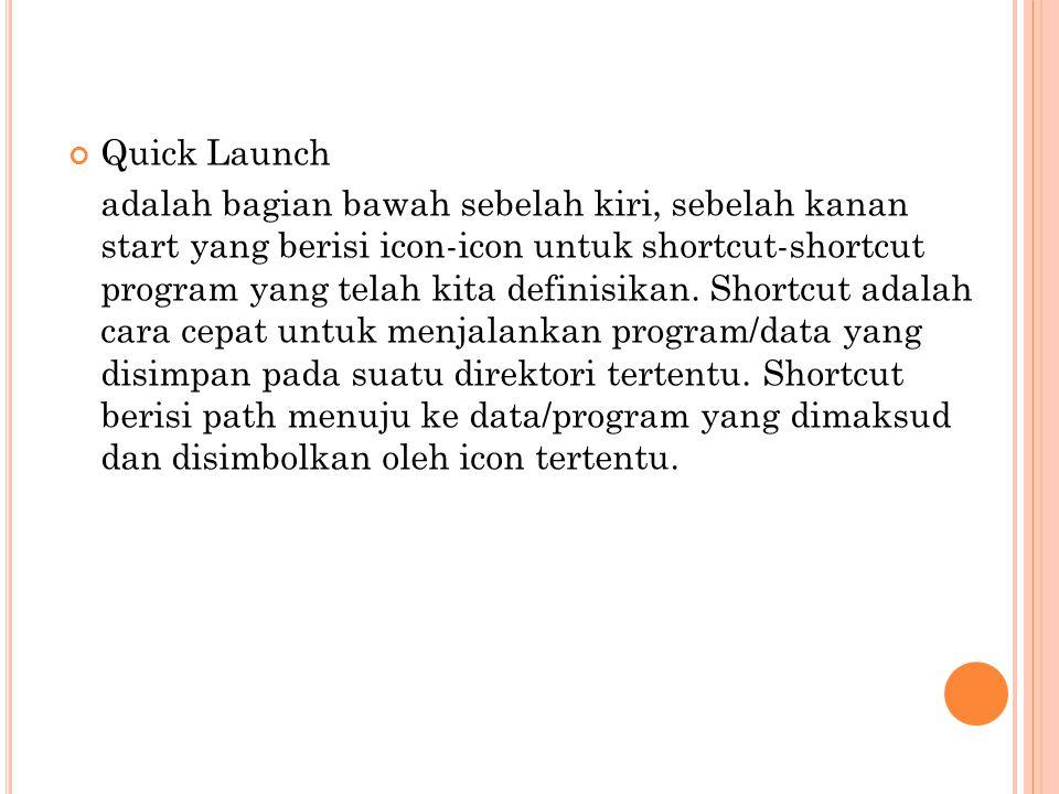 Quick Launch adalah bagian bawah sebelah kiri, sebelah kanan start yang berisi icon-icon untuk shortcut-shortcut program yang telah kita definisikan.