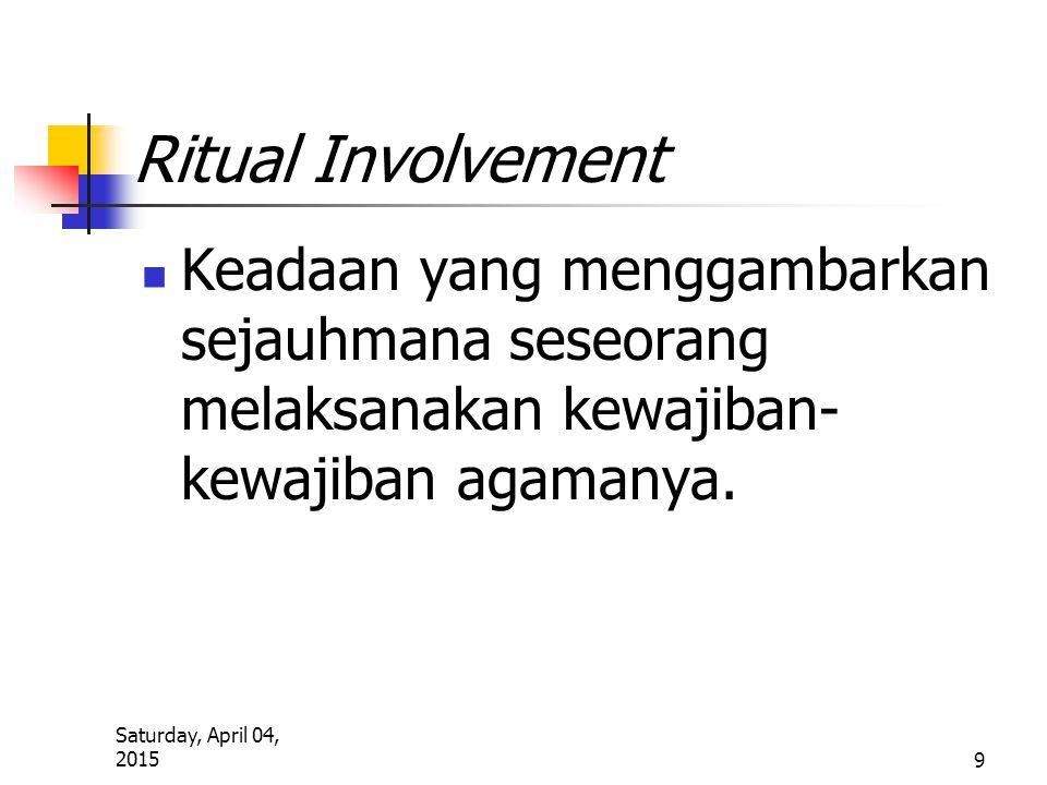 Saturday, April 04, 2015 9 Ritual Involvement Keadaan yang menggambarkan sejauhmana seseorang melaksanakan kewajiban- kewajiban agamanya.