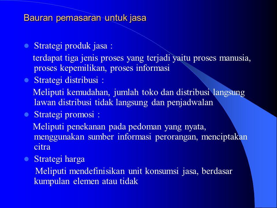 Bauran pemasaran untuk jasa Strategi produk jasa : terdapat tiga jenis proses yang terjadi yaitu proses manusia, proses kepemilikan, proses informasi