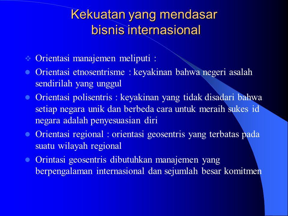 Kekuatan yang mendasar bisnis internasional  Orientasi manajemen meliputi : Orientasi etnosentrisme : keyakinan bahwa negeri asalah sendirilah yang u
