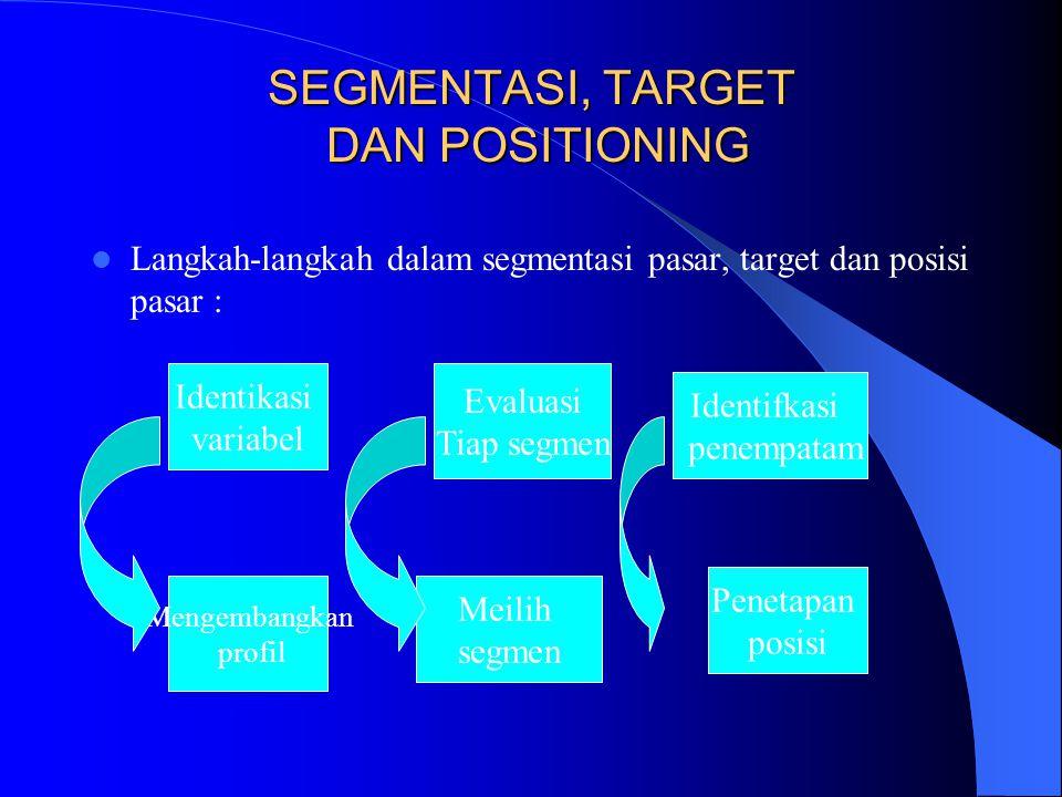 SEGMENTASI, TARGET DAN POSITIONING Langkah-langkah dalam segmentasi pasar, target dan posisi pasar : Identikasi variabel Evaluasi Tiap segmen Identifk