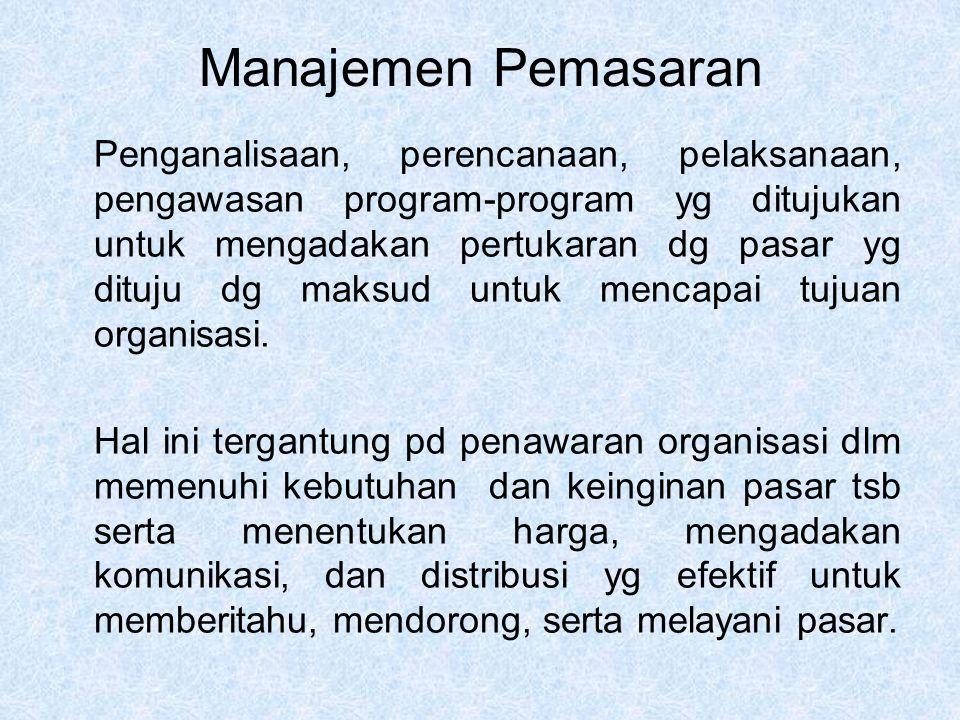 Manajemen Pemasaran Penganalisaan, perencanaan, pelaksanaan, pengawasan program-program yg ditujukan untuk mengadakan pertukaran dg pasar yg dituju dg maksud untuk mencapai tujuan organisasi.