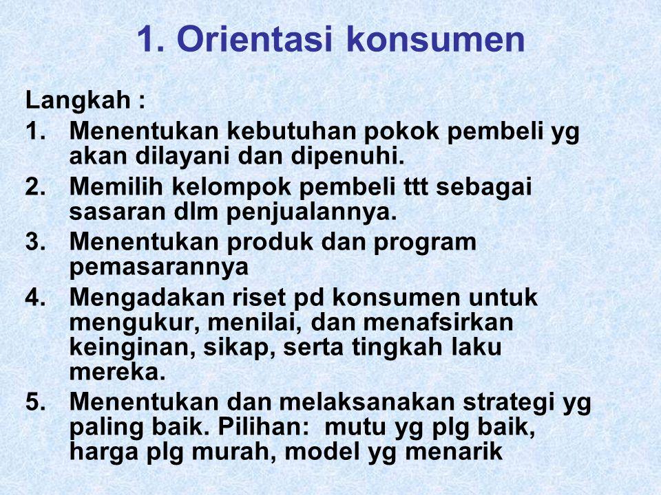 1.Orientasi konsumen Langkah : 1.Menentukan kebutuhan pokok pembeli yg akan dilayani dan dipenuhi.